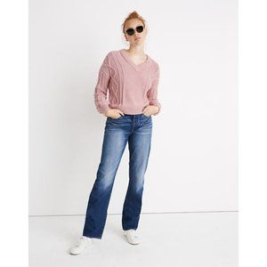 Madewell Augustus Cableknit V-Neck Sweater